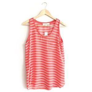 NWT Loft Pink & White Striped Sleeveless Blouse